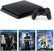 Sony PlayStation 4 1TB Black w/Games Uncharted4+Ratchet&Clank+Last Of Us