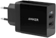 USB Universal Power Charger Anker PowerPort 24W 2-Port w/Micro USB Cable Black