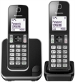 Telephone Panasonic KX-TGD312 with 2 Headphones Black