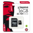 Secure Digital Micro Kingston 16GB SDHC Canvas Select cl10 UHS-I 80MB Read w/Adapter