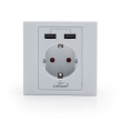 AC Wall Socket w/2 Port USB Charger White