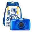 Dig. Camera Nikon Coolpix W100 Blue Waterproof w/ Backpack