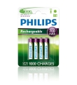Batteries 700mAh Rech. NI-MH AAA 4pack Philips